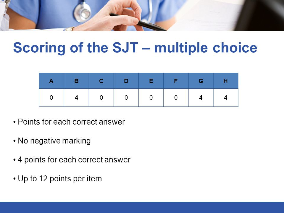 Scoring of the SJT – multiple choice