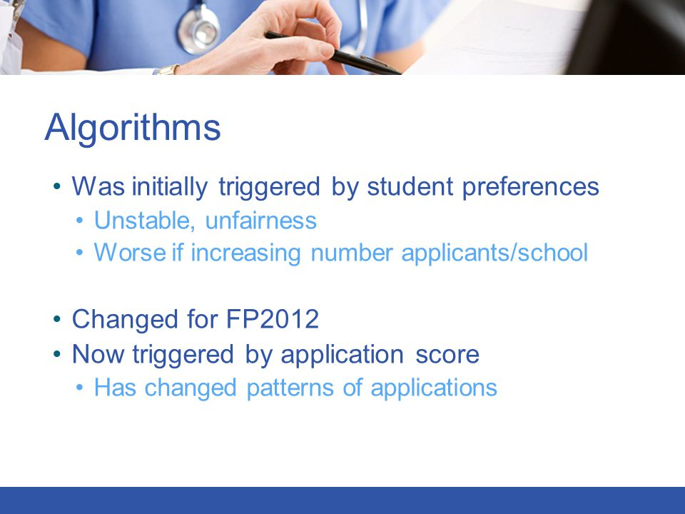 Algorithms Was initially triggered by student preferences