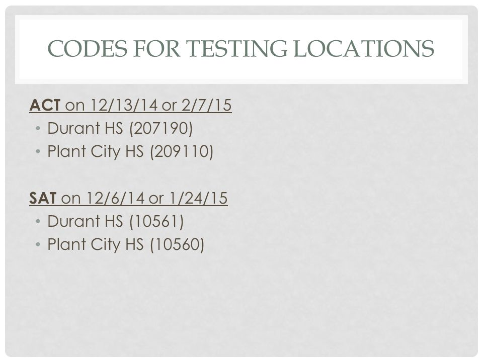 Codes for Testing Locations