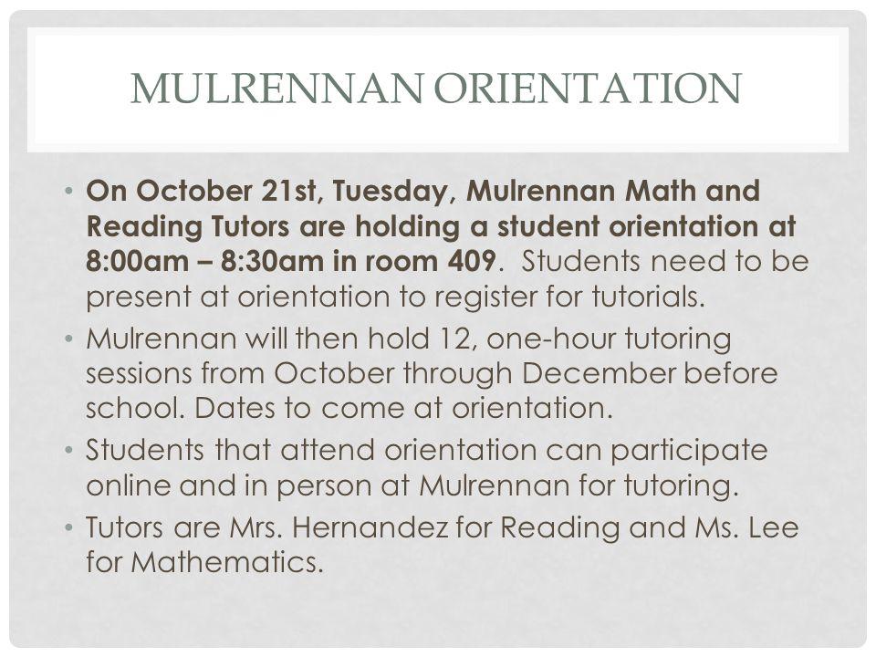 Mulrennan Orientation