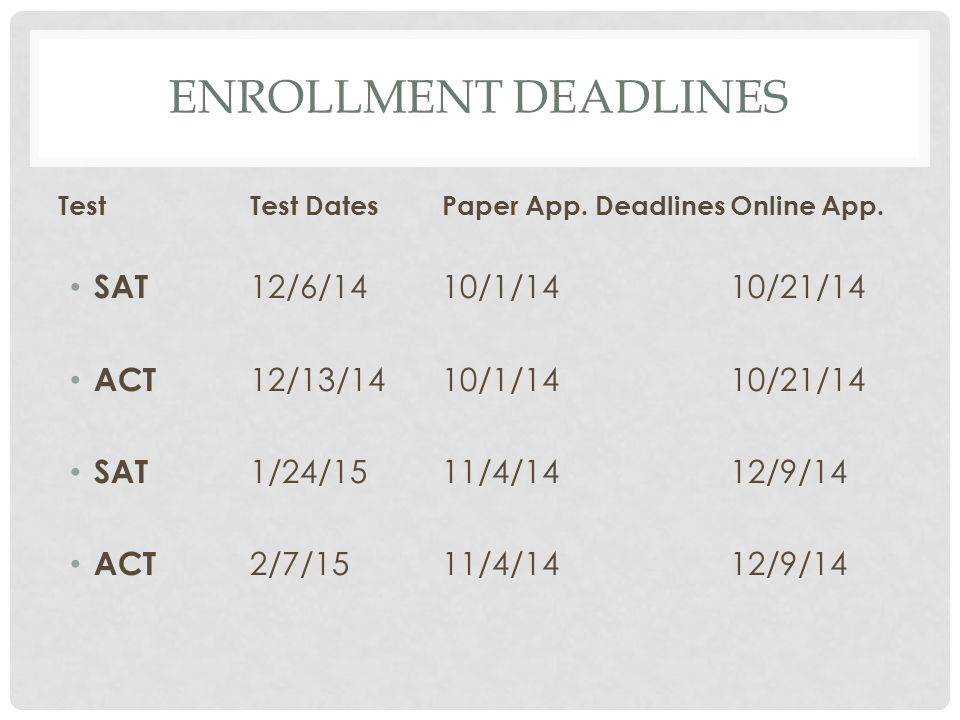 Enrollment Deadlines SAT 12/6/14 10/1/14 10/21/14