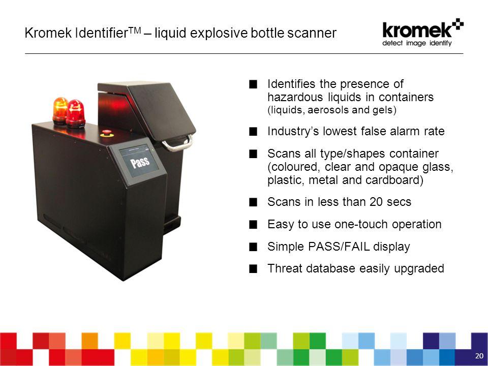 Kromek IdentifierTM – liquid explosive bottle scanner