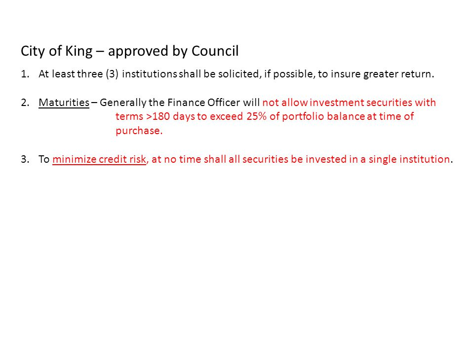City of King – approved by Council