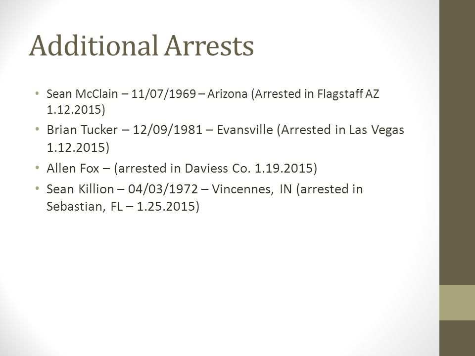 Additional Arrests Sean McClain – 11/07/1969 – Arizona (Arrested in Flagstaff AZ 1.12.2015)