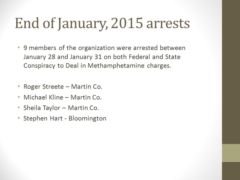 End of January, 2015 arrests