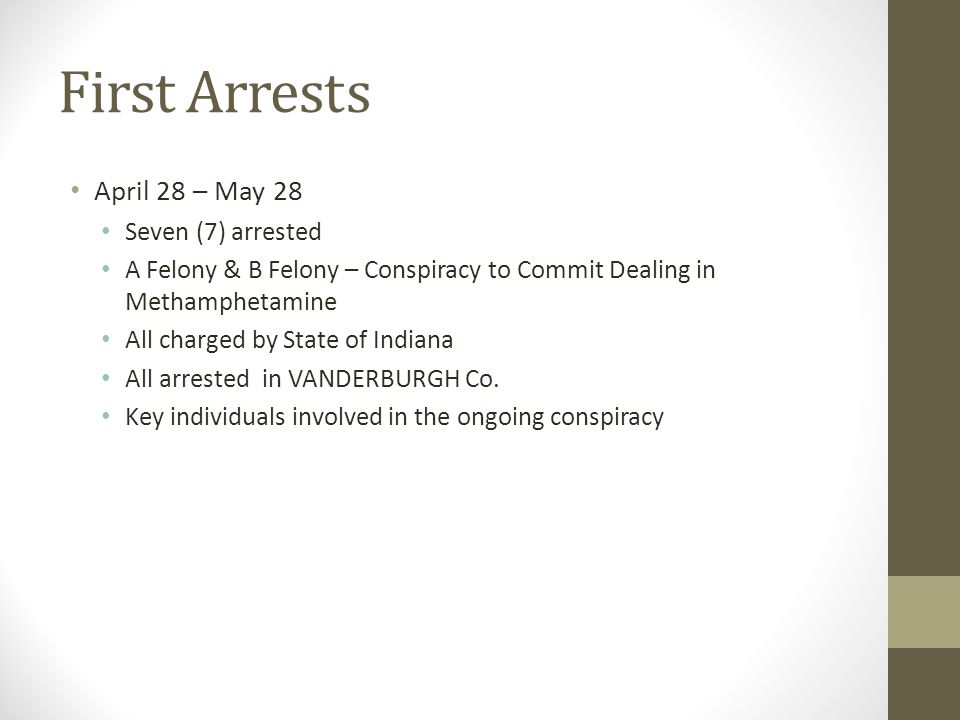 First Arrest s April 28 – May 28 Seven (7) arrested