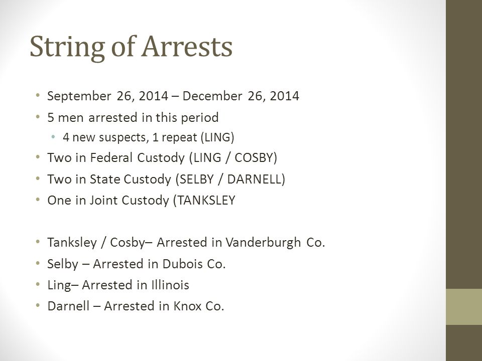 String of Arrests September 26, 2014 – December 26, 2014