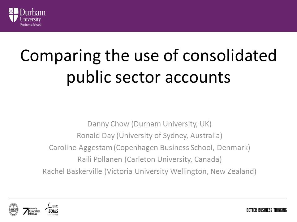 Comparing the use of consolidated public sector accounts