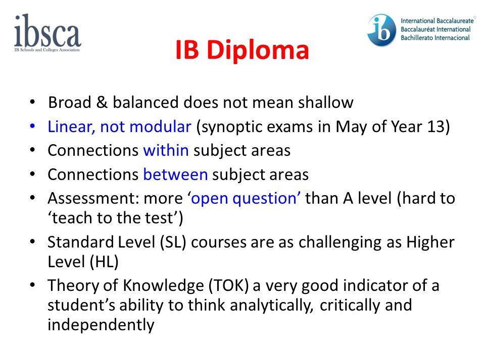 IB Diploma Broad & balanced does not mean shallow