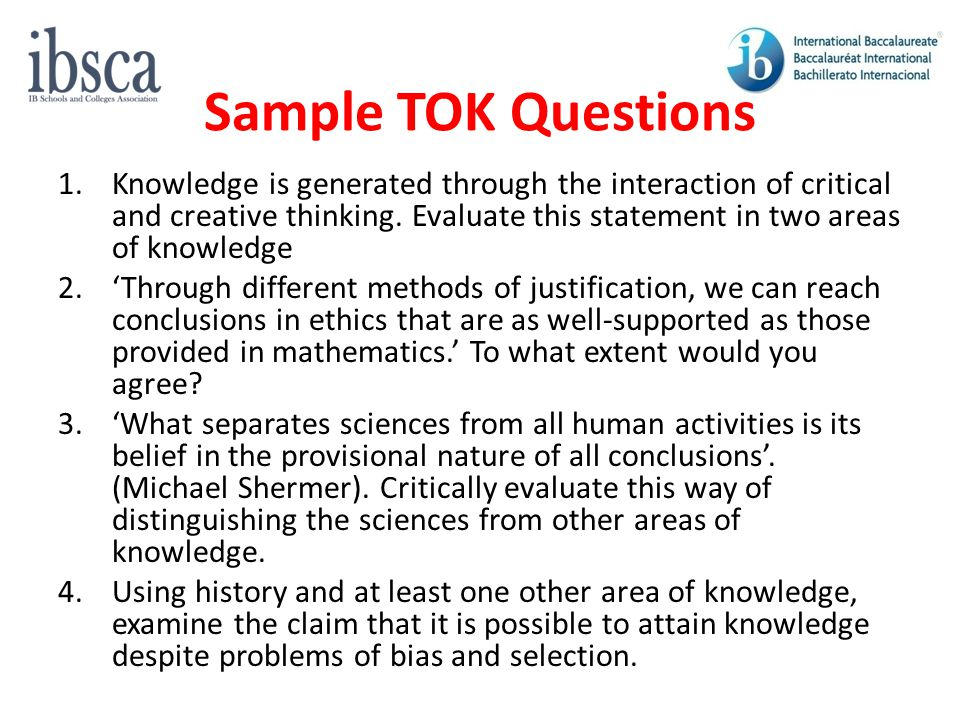 Sample TOK Questions