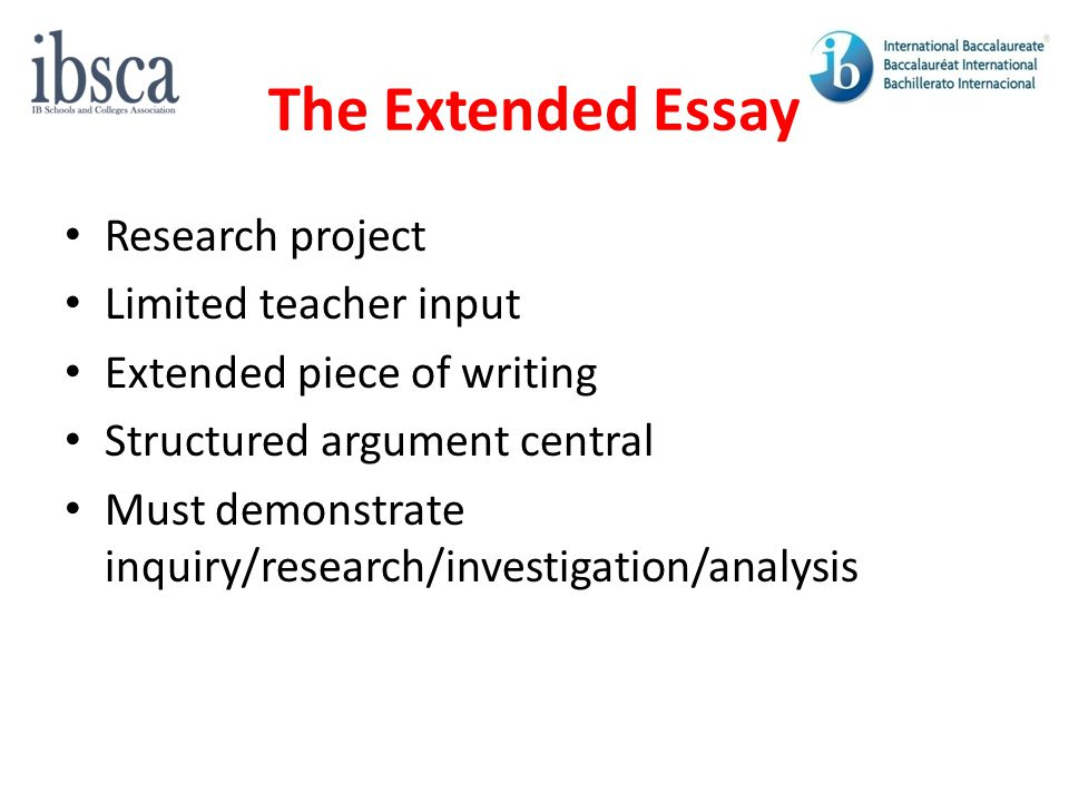 The Extended Essay Research project Limited teacher input