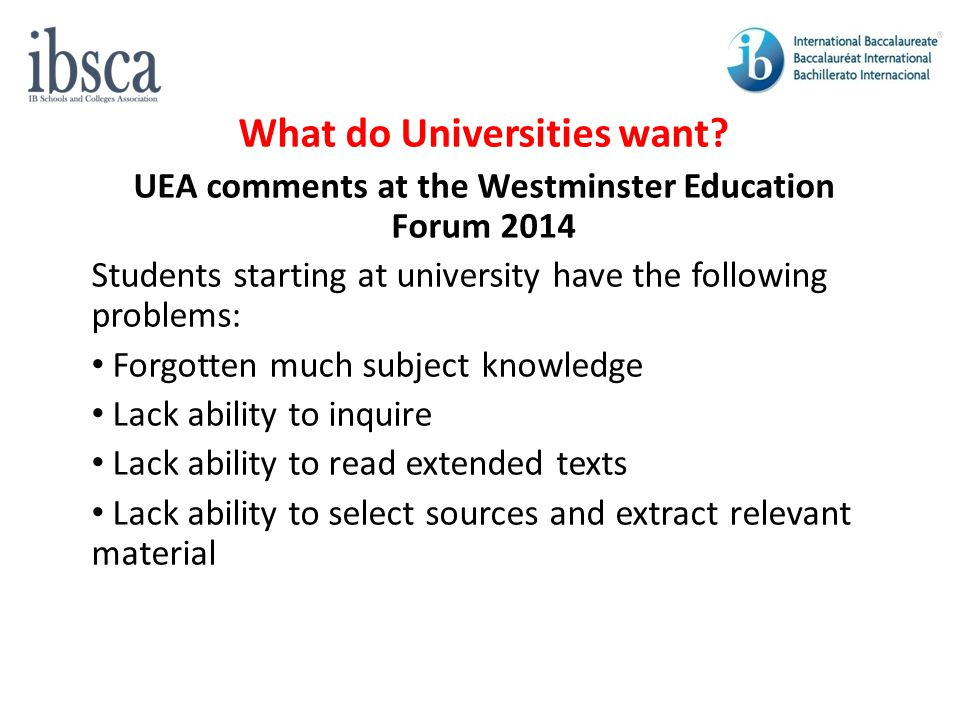 What do Universities want