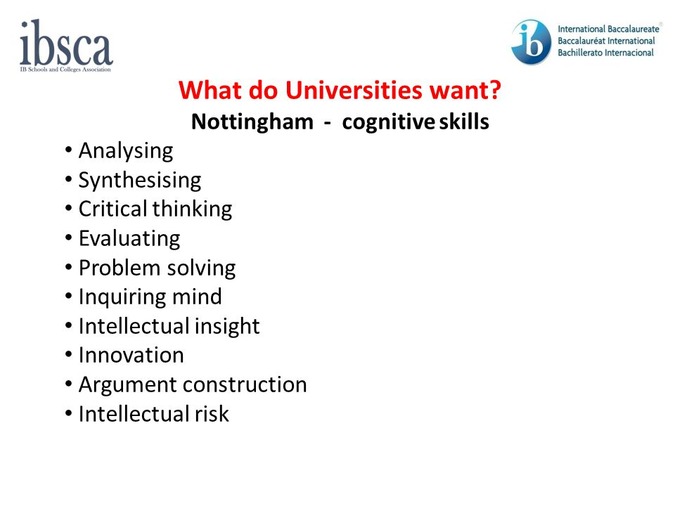 What do Universities want Nottingham - cognitive skills