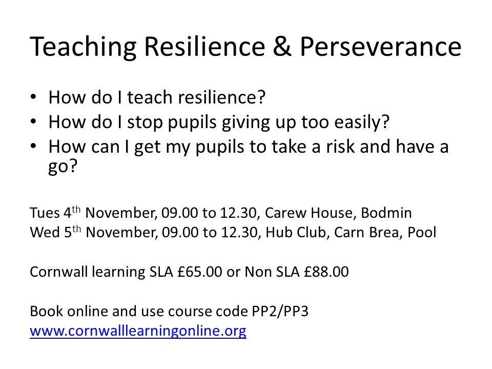 Teaching Resilience & Perseverance
