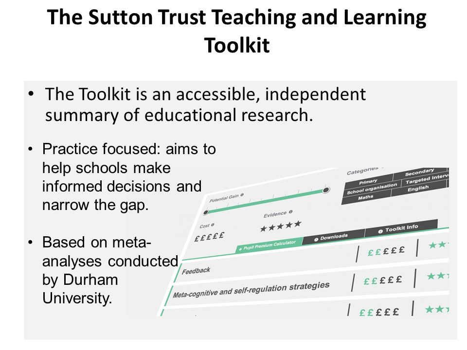 The Sutton Trust Teaching and Learning Toolkit