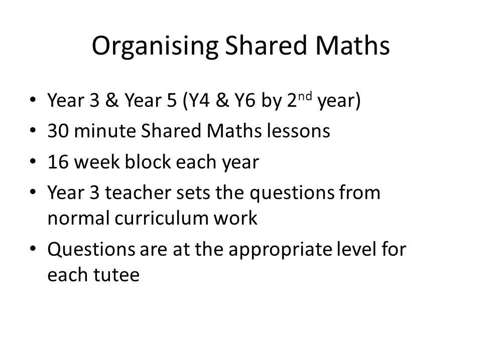 Organising Shared Maths