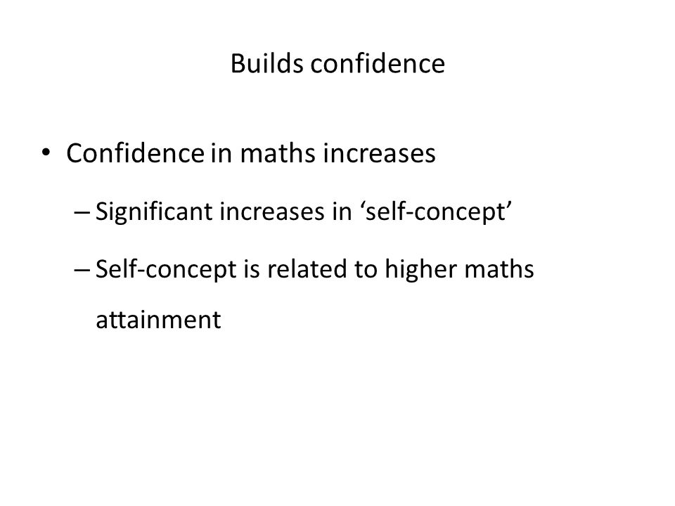 Confidence in maths increases