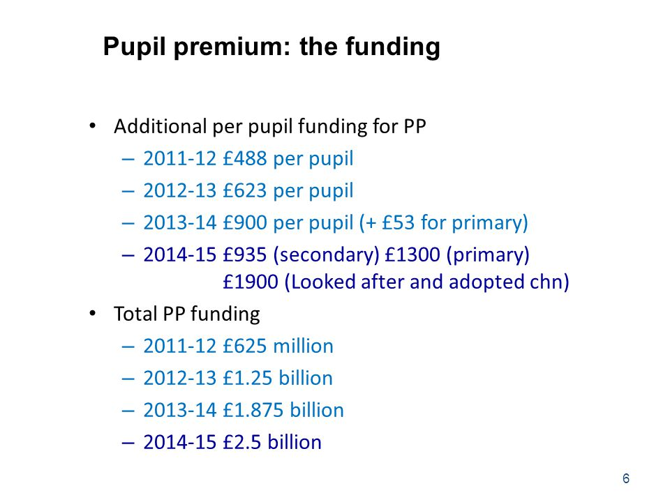 Pupil premium: the funding