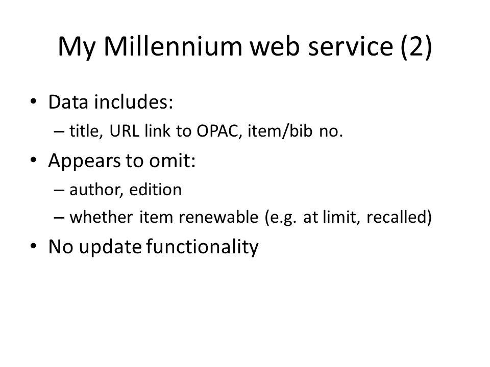 My Millennium web service (2)