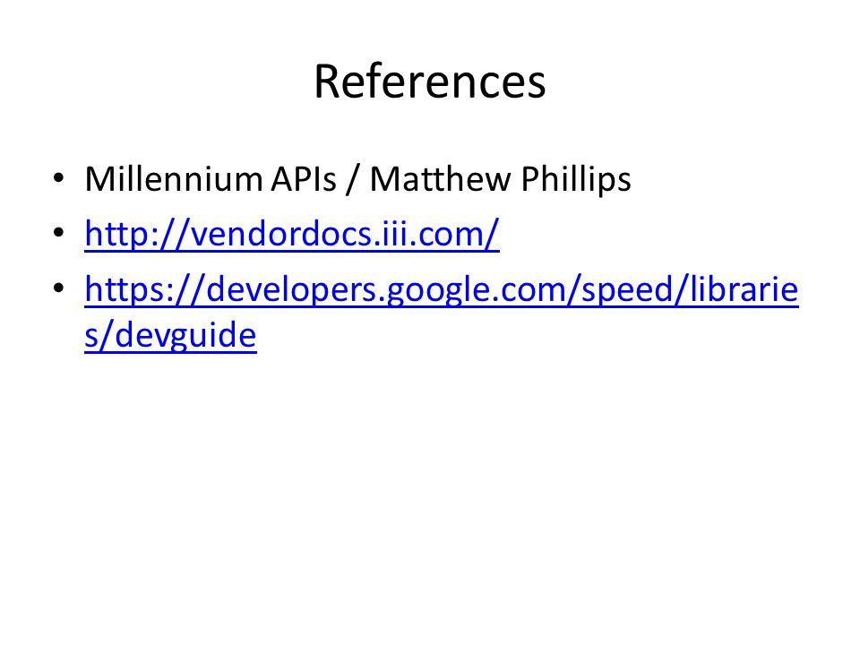 References Millennium APIs / Matthew Phillips