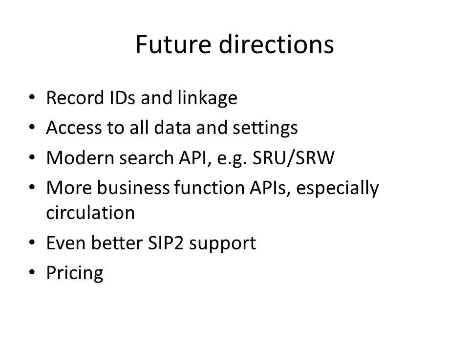 Future directions Record IDs and linkage