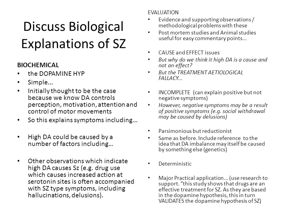 Discuss Biological Explanations of SZ