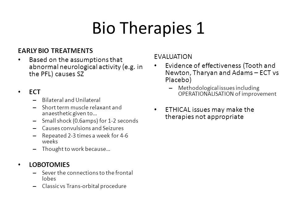 Bio Therapies 1 EARLY BIO TREATMENTS