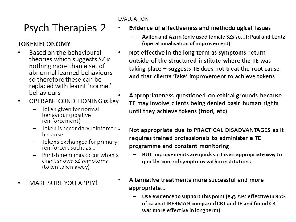 Psych Therapies 2 TOKEN ECONOMY