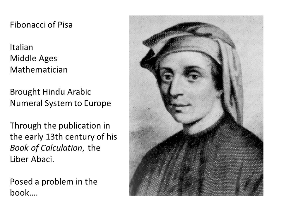 Fibonacci of Pisa Italian. Middle Ages. Mathematician. Brought Hindu Arabic Numeral System to Europe.