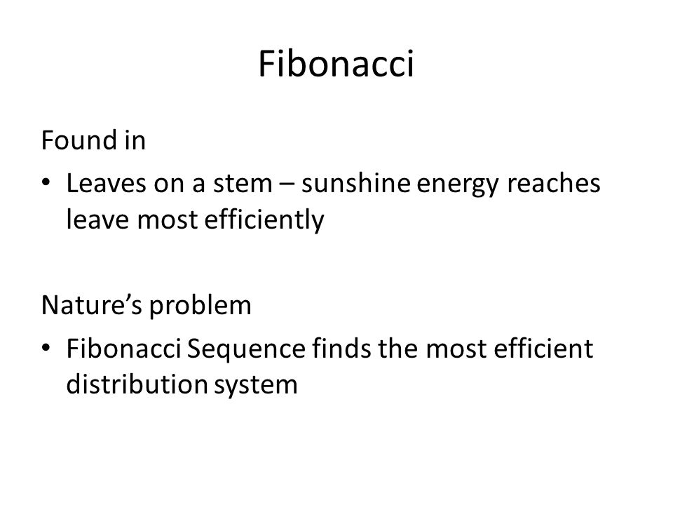 Fibonacci Found in. Leaves on a stem – sunshine energy reaches leave most efficiently. Nature's problem.