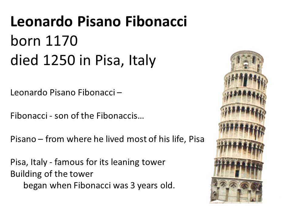 Leonardo Pisano Fibonacci born 1170 died 1250 in Pisa, Italy