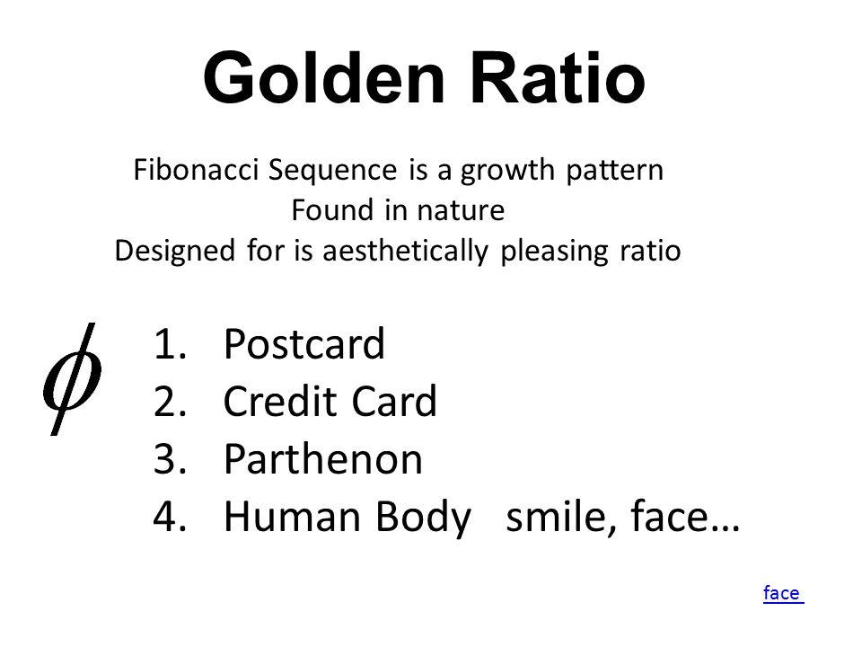 Golden Ratio Postcard Credit Card Parthenon Human Body smile, face…