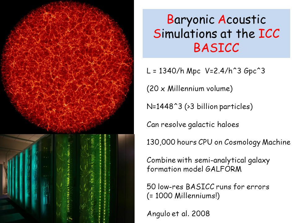 Baryonic Acoustic Simulations at the ICC BASICC
