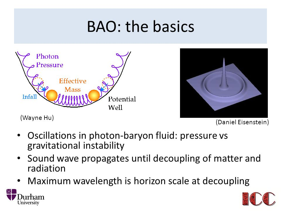BAO: the basics (Wayne Hu) (Daniel Eisenstein) Oscillations in photon-baryon fluid: pressure vs gravitational instability.