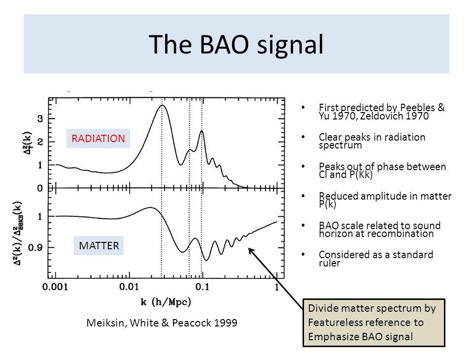 The BAO signal RADIATION MATTER Divide matter spectrum by