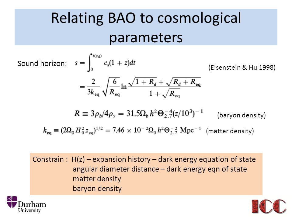 Relating BAO to cosmological parameters