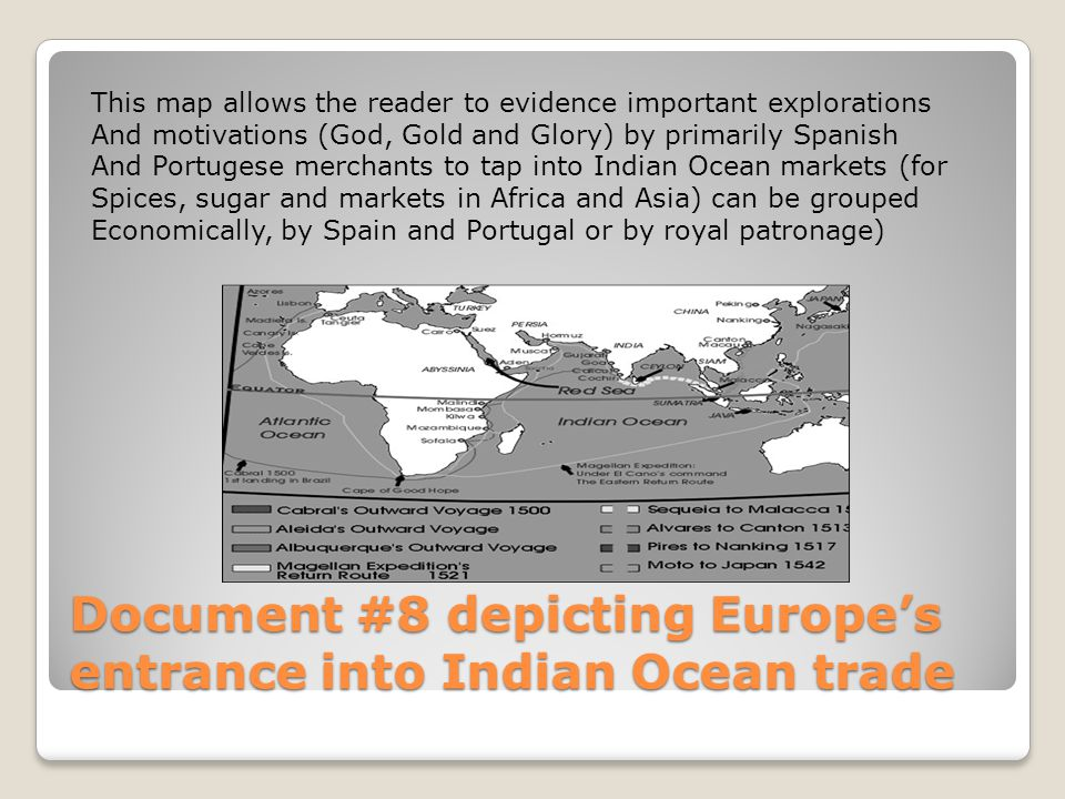 Document #8 depicting Europe's entrance into Indian Ocean trade