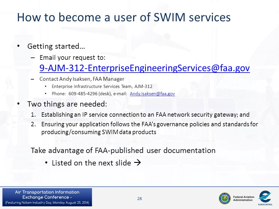 How to become a user of SWIM services