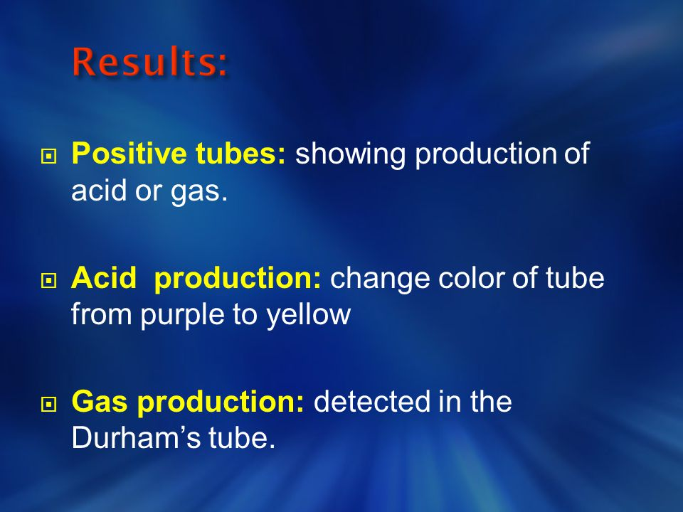 Results: Positive tubes: showing production of acid or gas.