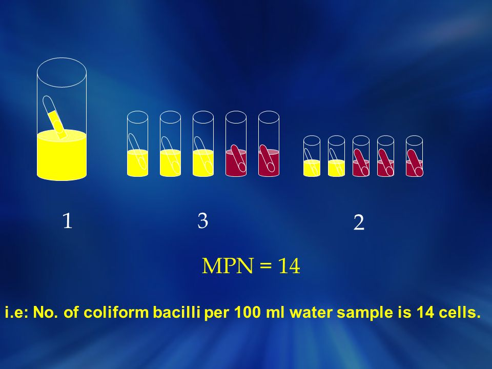 i.e: No. of coliform bacilli per 100 ml water sample is 14 cells.