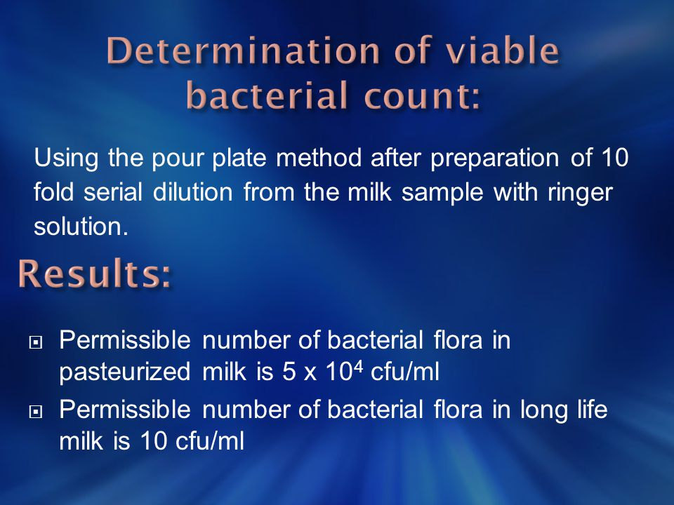Determination of viable bacterial count: