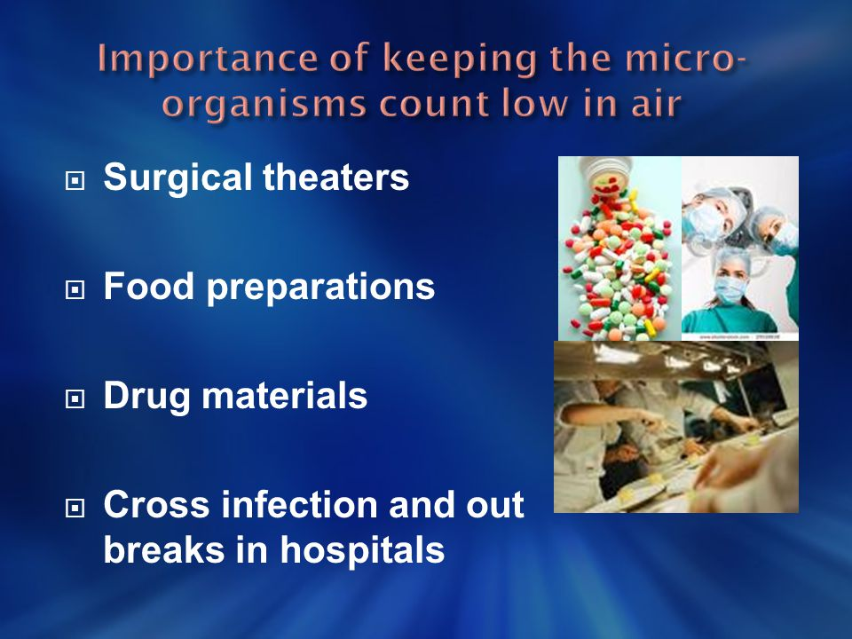 Importance of keeping the micro- organisms count low in air