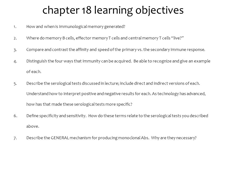 chapter 18 learning objectives