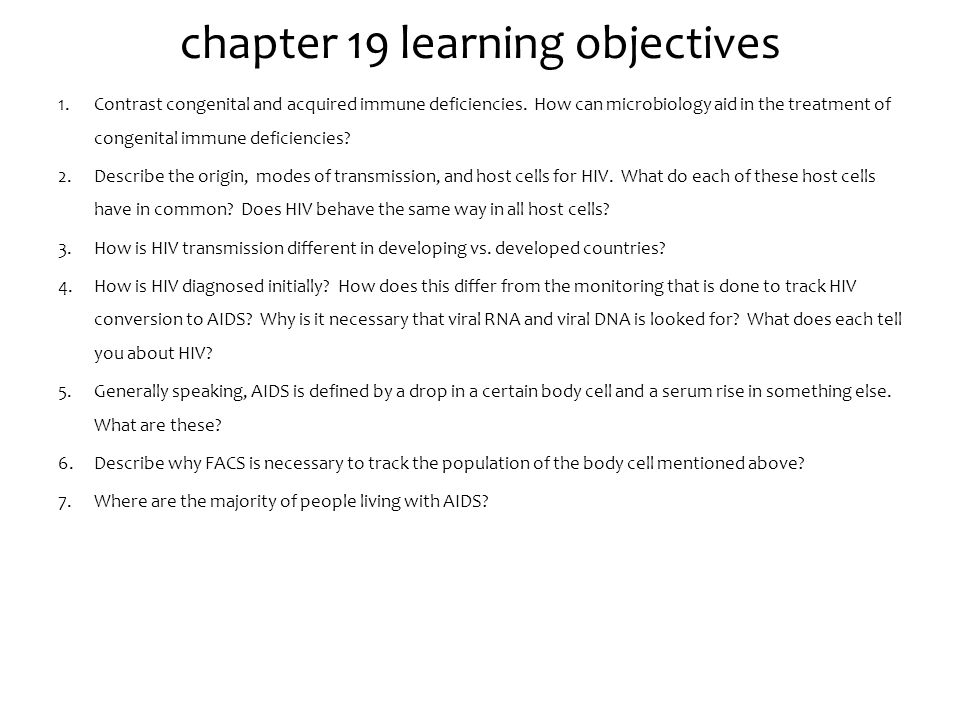 chapter 19 learning objectives