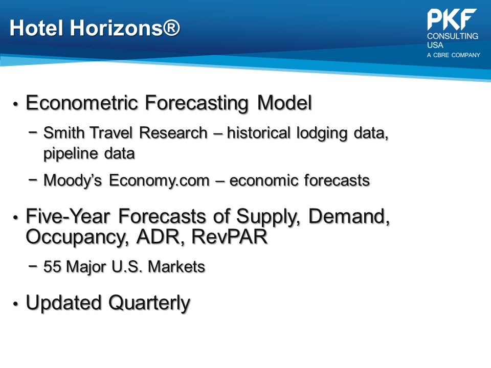 Hotel Horizons® Econometric Forecasting Model