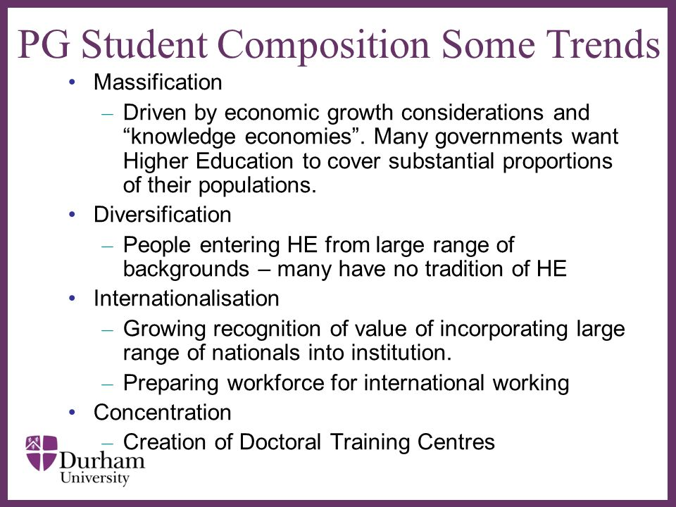 PG Student Composition Some Trends