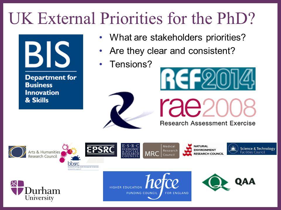 UK External Priorities for the PhD