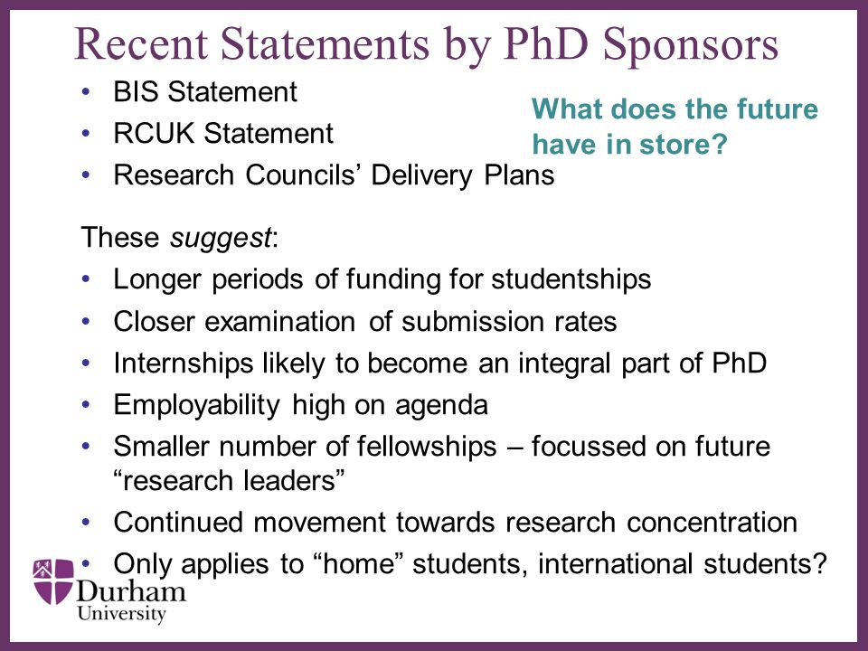Recent Statements by PhD Sponsors