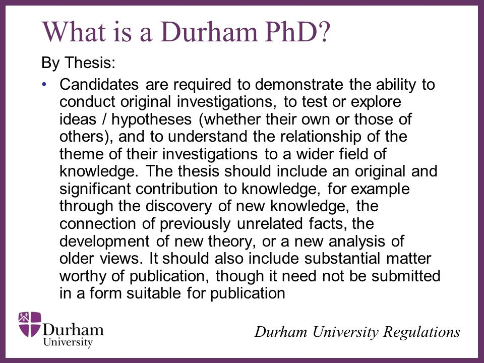 What is a Durham PhD By Thesis: