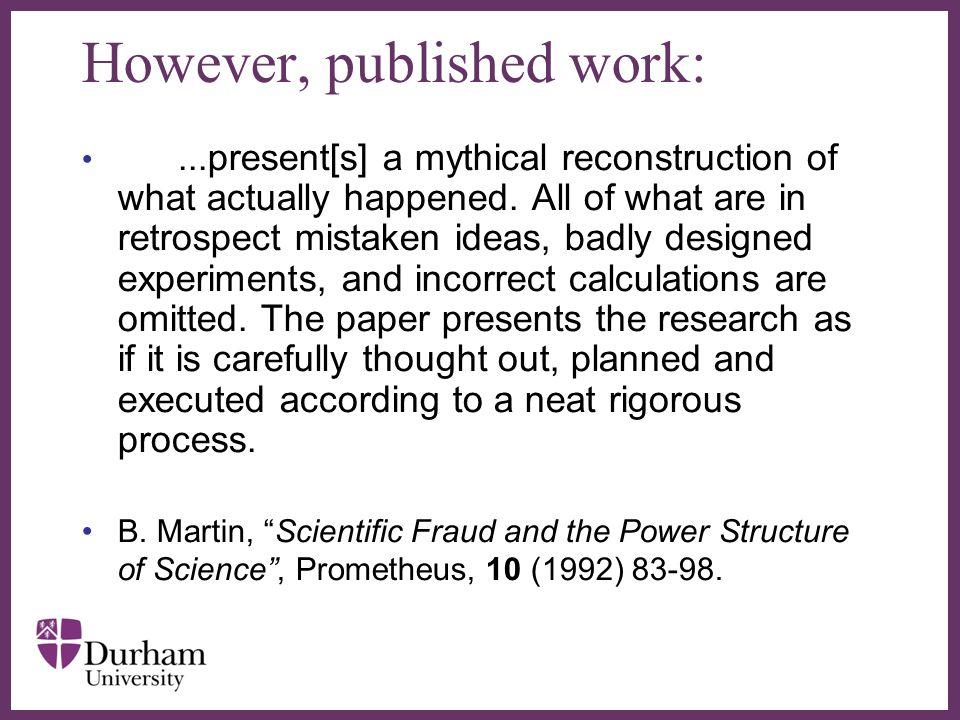 However, published work:
